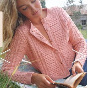 New Arnhem Daisy cropped Cardigan French Rose Pink